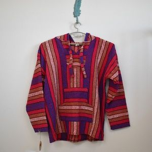 Blue & Pink Striped Mexican Hooded Poncho Sweater